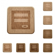 Set of carved wooden login panel buttons in 8 variations. - Login panel wooden buttons