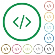 Set of programming code color round outlined flat icons on white background - Programming code outlined flat icons