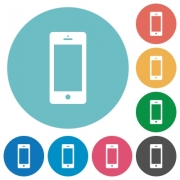 Flat cellphone icon set on round color background. - Flat cellphone icons