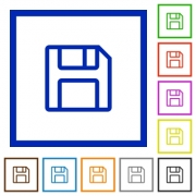 Set of color square framed save flat icons on white background - Save framed flat icons