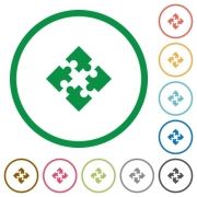 Set of modules color round outlined flat icons on white background - Modules outlined flat icons