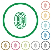 Set of fingerprint color round outlined flat icons on white background - Fingerprint outlined flat icons
