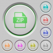 Set of color ZIP file format sunk push buttons.