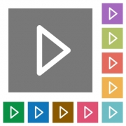 Media play flat icon set on color square background. - Media play square flat icons