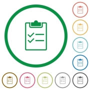 Set of checklist color round outlined flat icons on white background - Checklist outlined flat icons