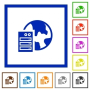 Set of color square framed web hosting flat icons - Web hosting framed flat icons