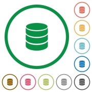 Set of database color round outlined flat icons on white background - Database outlined flat icons
