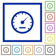 Set of color square framed speedometer flat icons - Speedometer framed flat icons