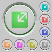 Set of color Resize window sunk push buttons. - Resize window push buttons