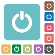 Flat power switch icons on rounded square color backgrounds. - Flat power switch icons