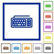 Set of color square framed Computer keyboard flat icons - Computer keyboard framed flat icons