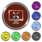 Set of color glossy coin-like fullscreen view buttons. - Color fullscreen view buttons