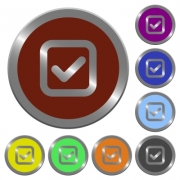 Set of color glossy coin-like checkbox buttons. - Color checkbox buttons