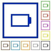 Set of color square framed empty battery flat icons - Empty battery framed flat icons