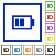 Set of color square framed half battery flat icons - Half battery framed flat icons
