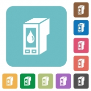 Flat ink cartridge icons on rounded square color backgrounds. - Flat ink cartridge icons