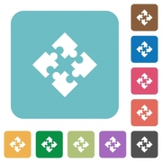 Flat modules icons on rounded square color backgrounds. - Flat modules icons