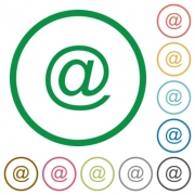 Set of email symbol color round outlined flat icons on white background - Email symbol outlined flat icons