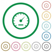 Set of speedometer color round outlined flat icons on white background - Speedometer outlined flat icons