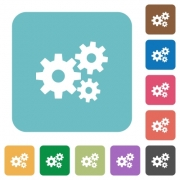 Flat gears icons on rounded square color backgrounds. - Flat gears icons
