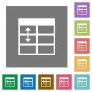 Adjust table row height flat icon set on color square background. - Adjust table row height square flat icons