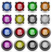 Set of database options glossy web buttons. Arranged layer structure. - Database options button set