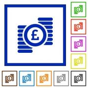 Set of color square framed Pound coins flat icons - Pound coins framed flat icons