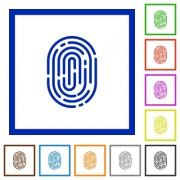 Set of color square framed fingerprint flat icons - Fingerprint framed flat icons