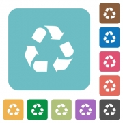 Flat recycling icons on rounded square color backgrounds. - Flat recycling icons