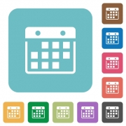 Flat hanging calendar icons on rounded square color backgrounds. - Flat hanging calendar icons
