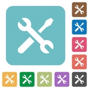 Flat maintenance icons on rounded square color backgrounds. - Flat maintenance icons