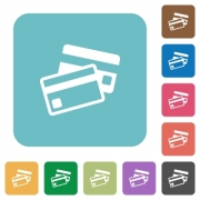 Flat credit card icons on rounded square color backgrounds. - Flat credit card icons