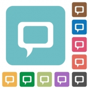 Flat comment icons on rounded square color backgrounds. - Flat comment icons