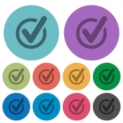 Color checked form data flat icon set on round background. - Color checked form data flat icons