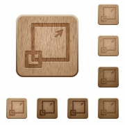 Set of carved wooden maximize window buttons in 8 variations. - Maximize window wooden buttons