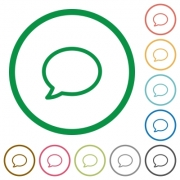 Set of comment color round outlined flat icons on white background - Comment outlined flat icons
