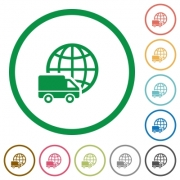 Set of International transport color round outlined flat icons on white background - International transport outlined flat icons