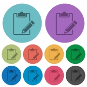 Color notepad flat icon set on round background. - Color notepad flat icons