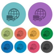 Color international transport flat icon set on round background. - Color international transport flat icons