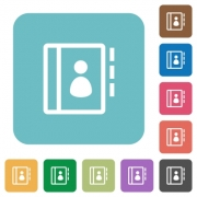 Flat contacts icons on rounded square color backgrounds. - Flat contacts icons