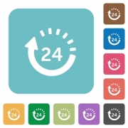 Flat 24 hour delivery icons on rounded square color backgrounds. - Flat 24 hour delivery icons