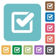 Flat checkbox icons on rounded square color backgrounds. - Flat checkbox icons