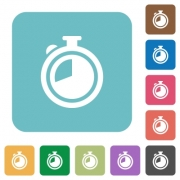 Flat timer icons on rounded square color backgrounds. - Flat timer icons