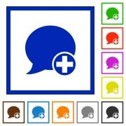 Set of color square framed post blog comment flat icons - Post blog comment framed flat icons