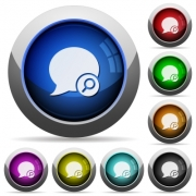 Set of round glossy Find blog comment buttons. Arranged layer structure. - Find blog comment button set