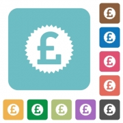Flat pound sticker icons on rounded square color backgrounds. - Flat pound sticker icons - Large thumbnail