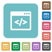 Flat programming code icons on rounded square color backgrounds. - Flat programming code icons - Large thumbnail