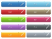 Set of edit glossy color captioned menu buttons with embossed icons - Edit captioned menu button set