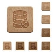 Set of carved wooden Database table relations buttons in 8 variations. - Database table relations wooden buttons