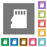 Micro SD memory card flat icon set on color square background. - Micro SD memory card square flat icons